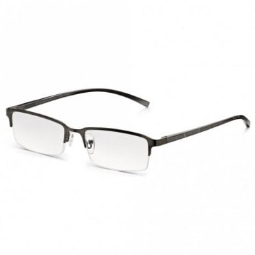 Mens Oxidised Silver Chrome Alloy-Tech Supra Half Frame Rectangle Reading Glass