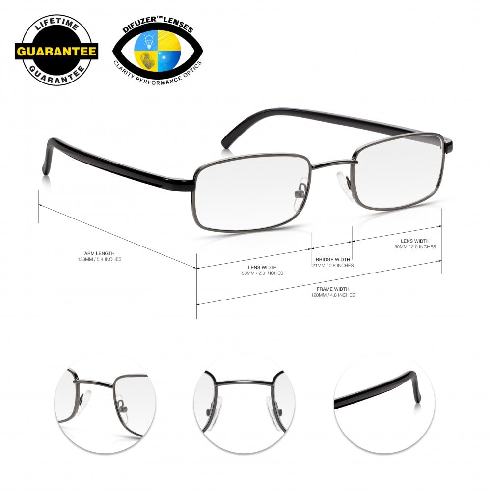 c091d55aee Read Optics Metal Frame Glasses for Reading  Mens   Womens Non Prescription  Spectacles