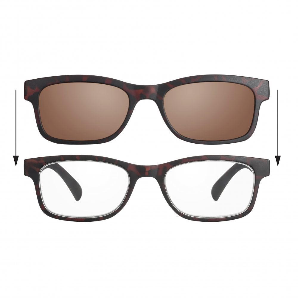1f6cc21469dd Read Optics Patented 2-in-1 Reading Glasses  UV400 Clip-On Sun Readers for  Men and Women