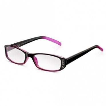 Pretty Full Frame Reading Glasses for Women: Chic Crystal Blackberry and Pink