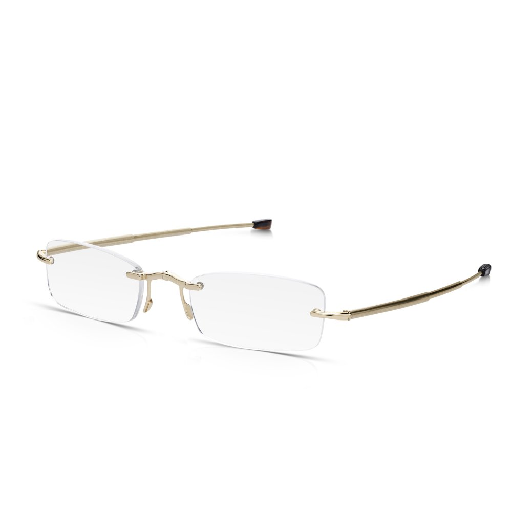 4acf2cd9717 Read Optics Rimless Compact Folding Reading Glasses in Gold with Telescopic  Arms   Case