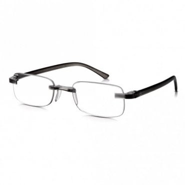 Rimless Ready Readers: Ultra Lightweight Flexible Grey Non Prescription Glasses