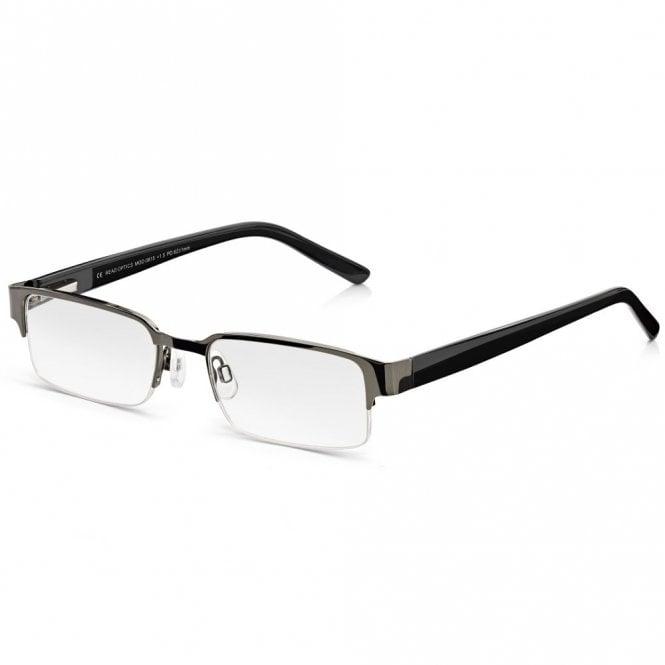 Read Optics Semi-Rimless Glasses: Mens Black Half Frame Ready Readers. Metal, Spring Hinges