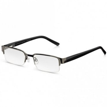 Semi-Rimless Glasses: Mens Black Half Frame Ready Readers. Metal, Spring Hinges