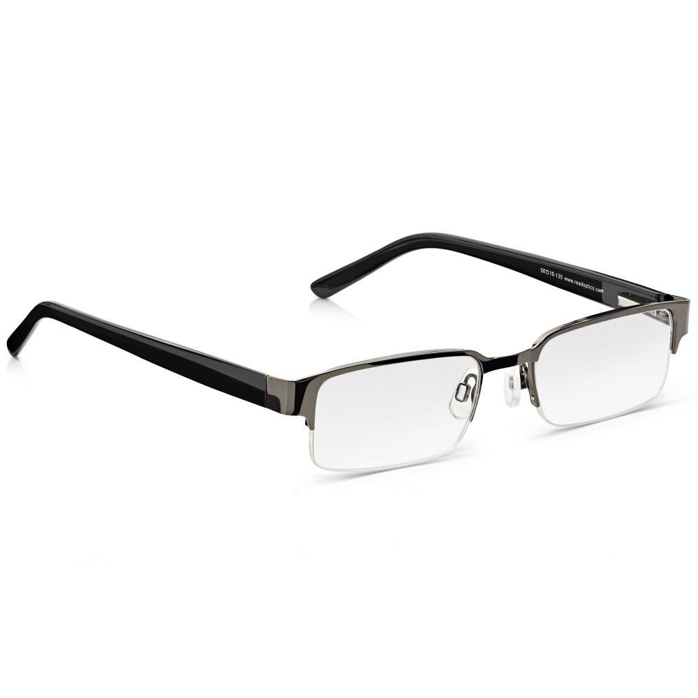 290c73923e8 Read Optics Semi-Rimless Glasses  Mens Black Half Frame Ready Readers.  Metal
