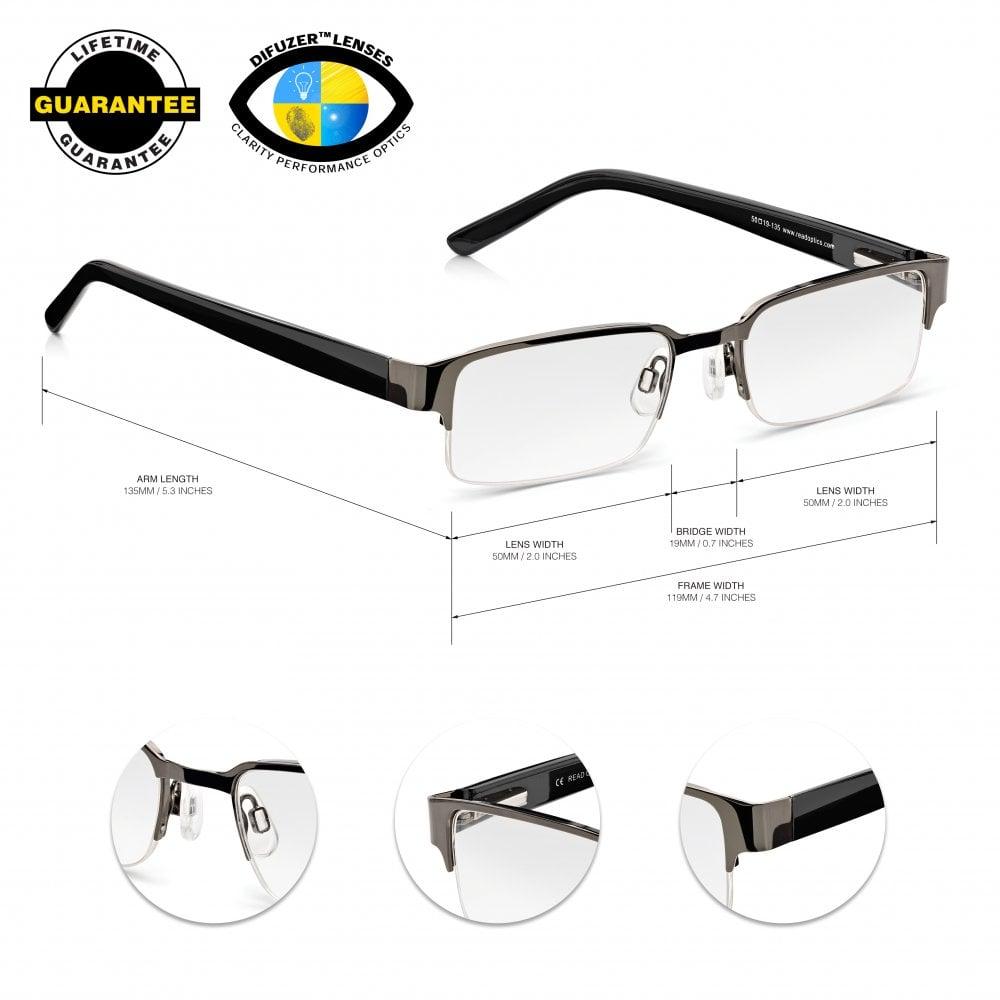 eafe1da8320 Read Optics Semi-Rimless Glasses  Mens Black Half Frame Ready Readers. Metal
