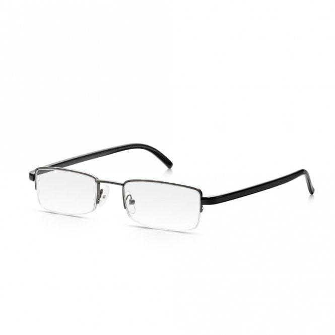 Read Optics Semi Rimless Reader Glasses:Tough Metal Spectacles in Black & Gunmetal for Men