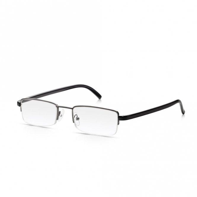 Read Optics Semi Rimless Reader Glasses:Tough Metal Spectacles in Black & Gunmetal for Men