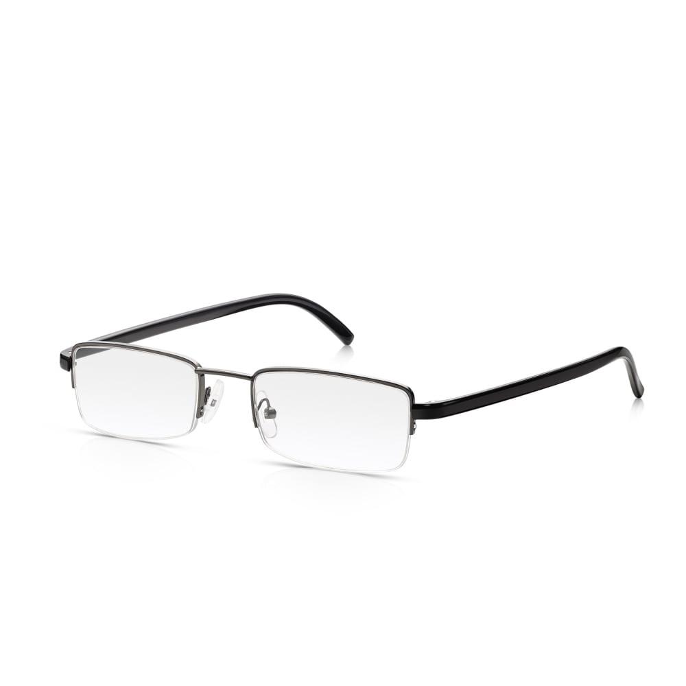 85951327759 Read Optics Semi Rimless Reader Glasses Tough Metal Spectacles in Black    Gunmetal for Men