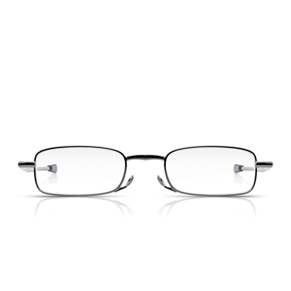 d17482a00ef Read Optics Telescopic Reading Glasses in Gunmetal. Travel Emergency Folding  Specs in Case