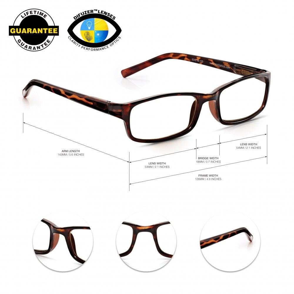53e5f27758e Read Optics Unisex Reading Glasses  Lightweight Optical Quality Specs in  Tortoiseshell Frame
