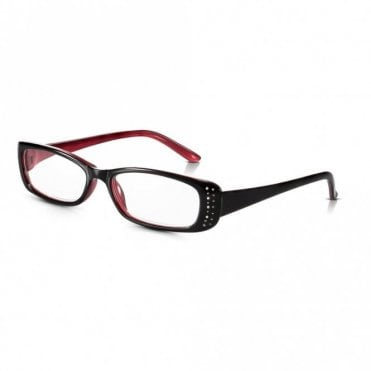 Womens Black and Dark Red Diamante Full Frame Rectangle Reading Glass