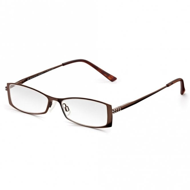 Read Optics Womens Brown Chestnut Diamante Full Frame Rectangle Reading Glass