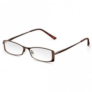 Womens Brown Chestnut Diamante Full Frame Rectangle Reading Glass