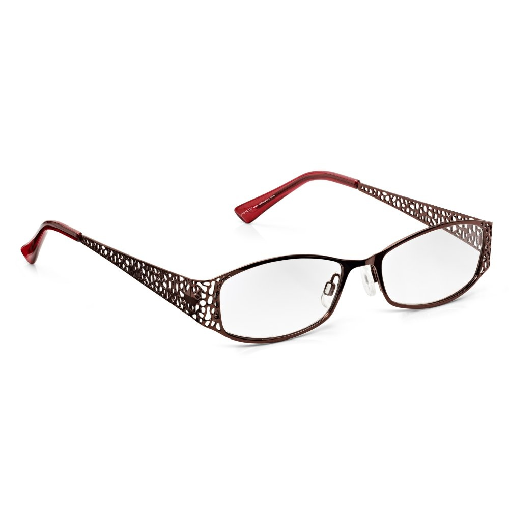 d2b929aa1 Read Optics Womens Brown-Red Mulberry Glamorous Fret Full Frame Rectangle  Reading Glass