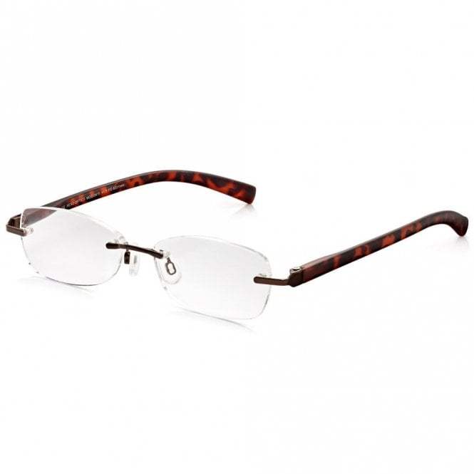 Read Optics Womens Chic Combo Brown Tortoiseshell Rimless Oval Reading Glass