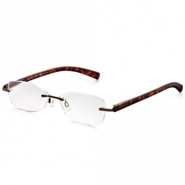 Womens Chic Combo Brown Tortoiseshell Rimless Oval Reading Glass