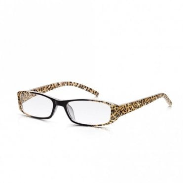 Womens Leopard Print and Black Full Frame Rectangle Reading Glass