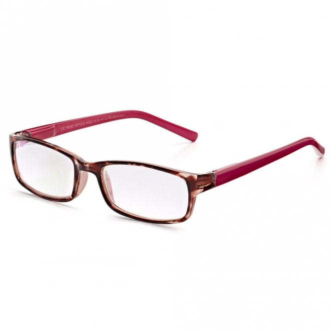 Read Optics Womens Pink Raspberry Tortoiseshell Full Frame Rectangle Reading Glass