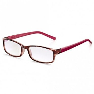 Womens Pink Raspberry Tortoiseshell Full Frame Rectangle Reading Glass